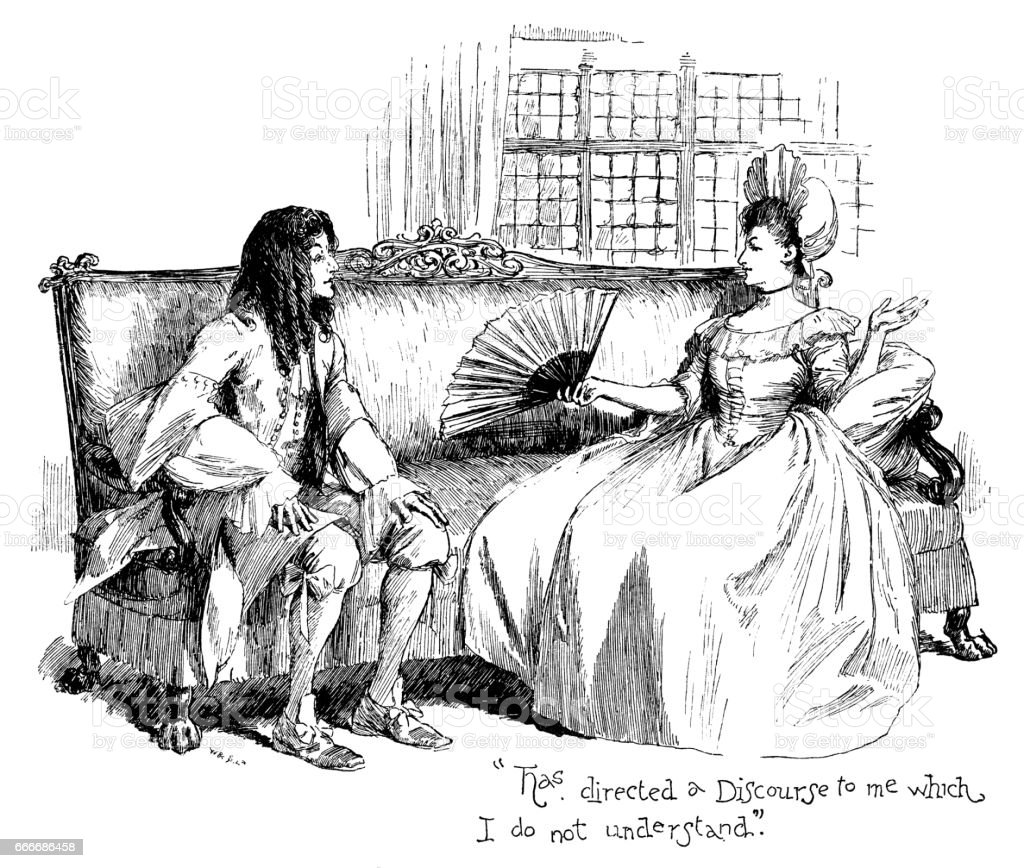 Early 18th century man and woman talking vector art illustration