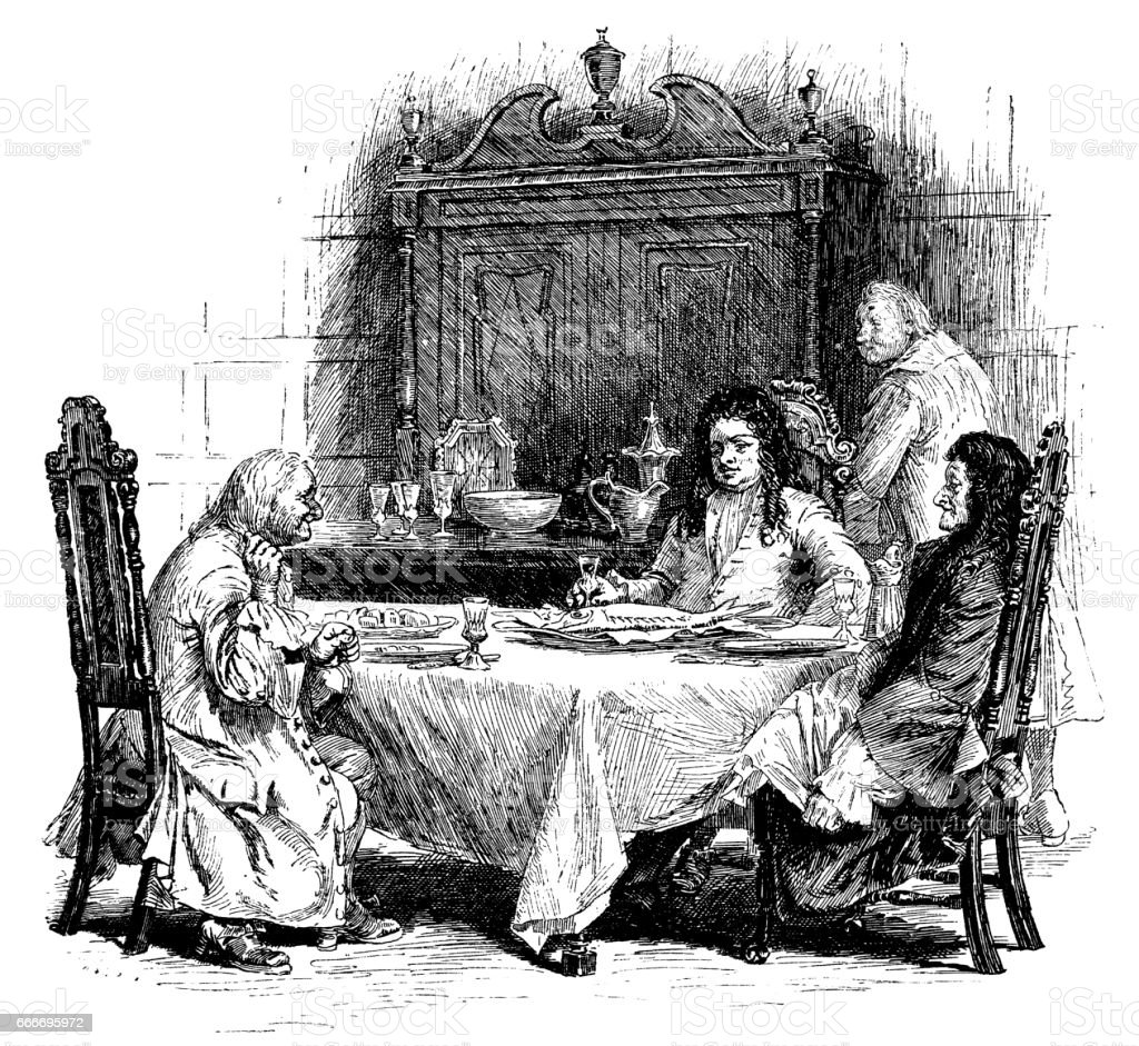 Early 18th century men seated around the dinner table vector art illustration