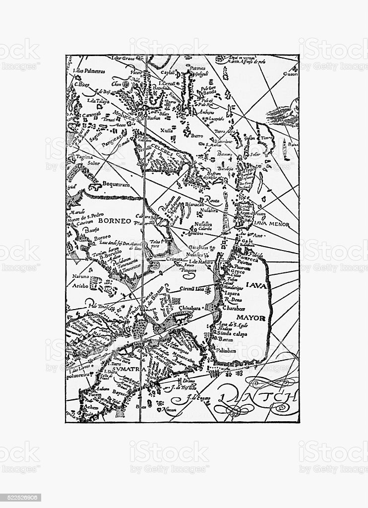 Early Map of Dutch Navigation, Victorian Illustration vector art illustration