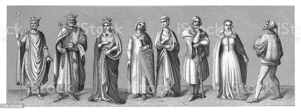 Early medieval costumes - Western Europe vector art illustration