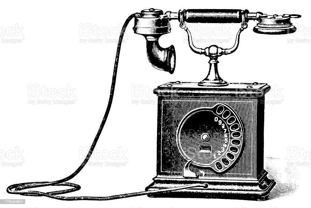 Early telephone | Antique Design Illustrations vector art illustration