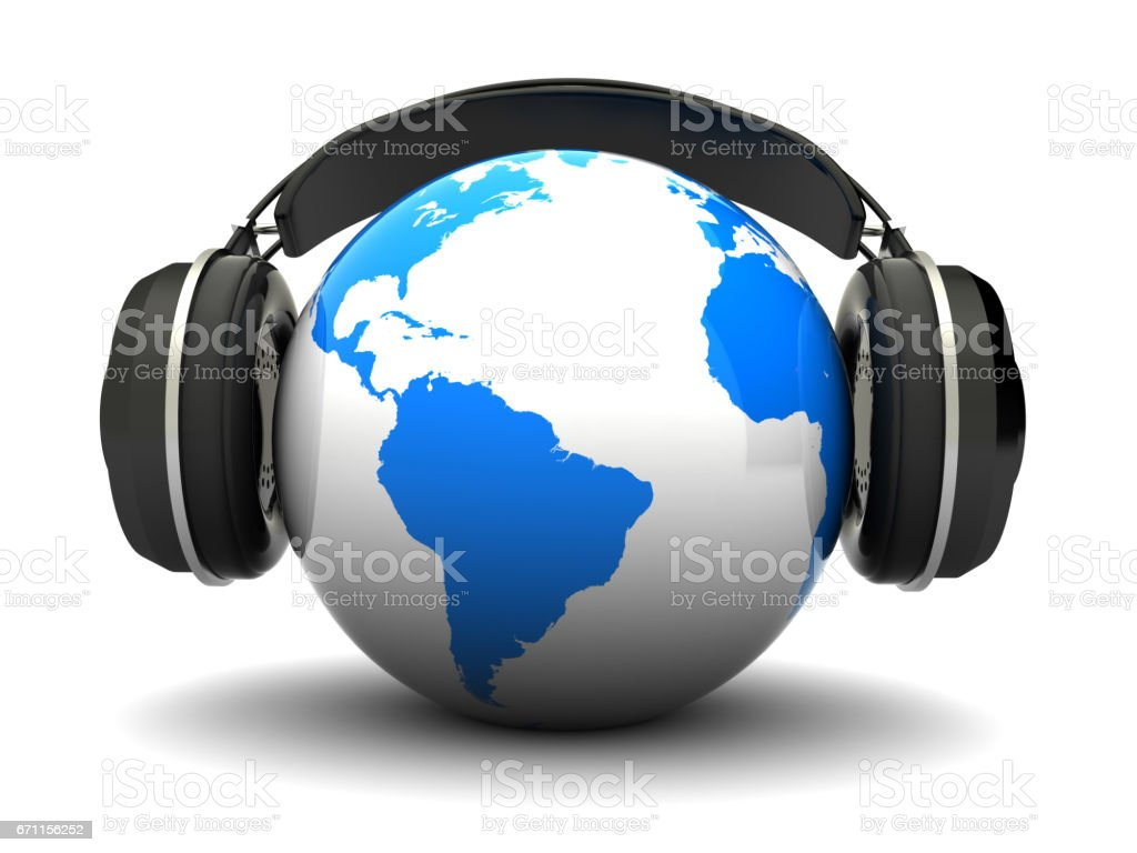 earth and headphones stock photo