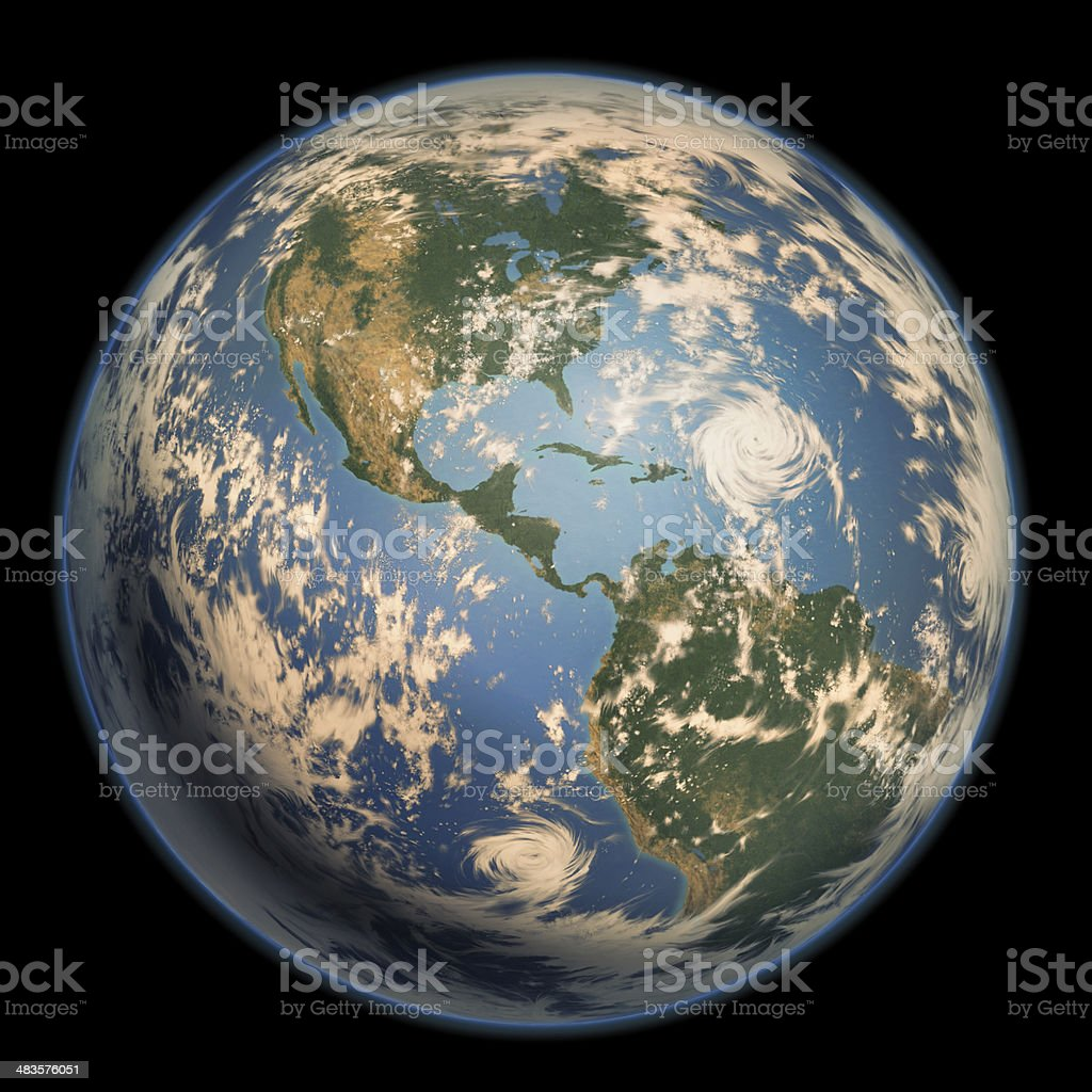 Earth by side of American continent.with clouds vector art illustration