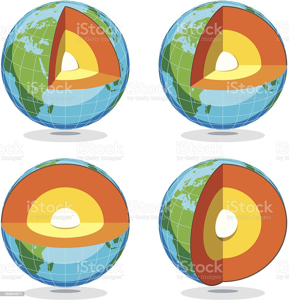 Earth Globe Sections Low vector art illustration