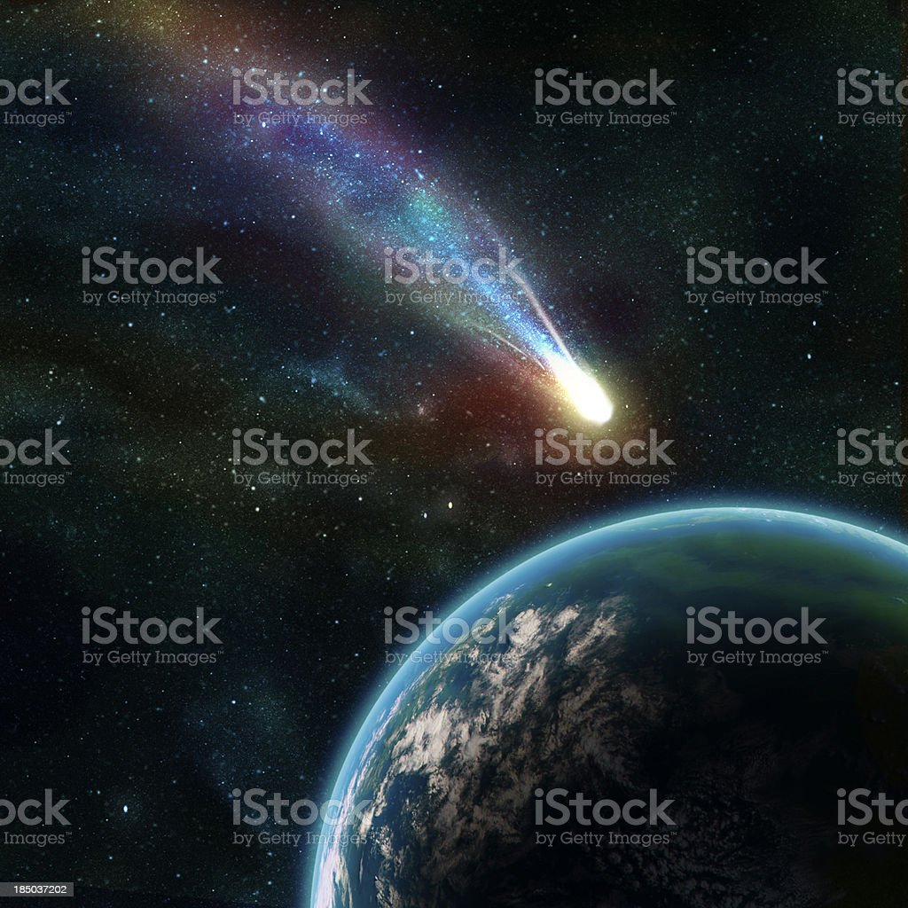 Earth in space with a flying asteroid vector art illustration