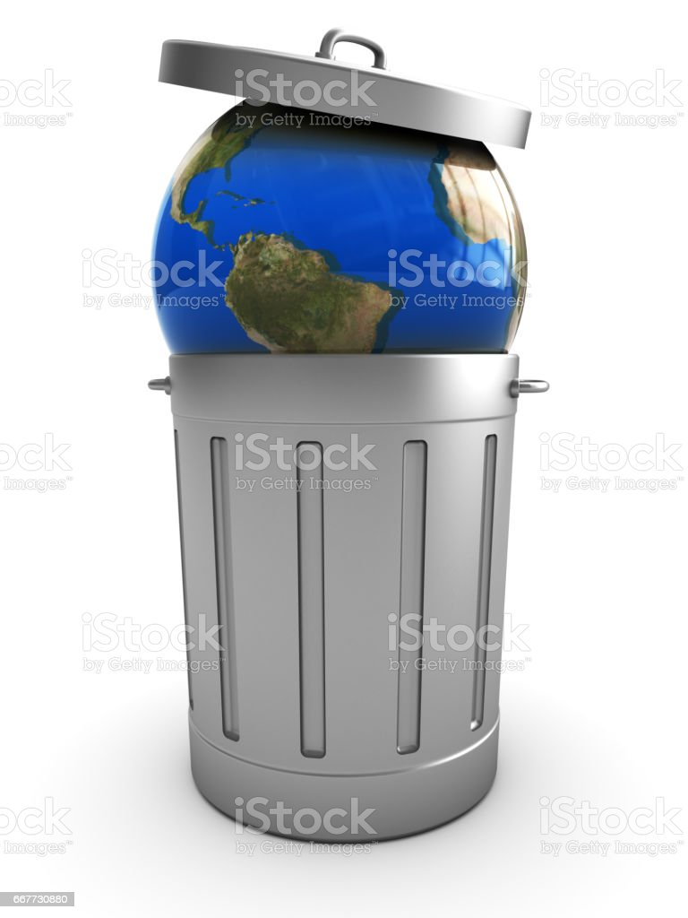 earth in trash can stock photo