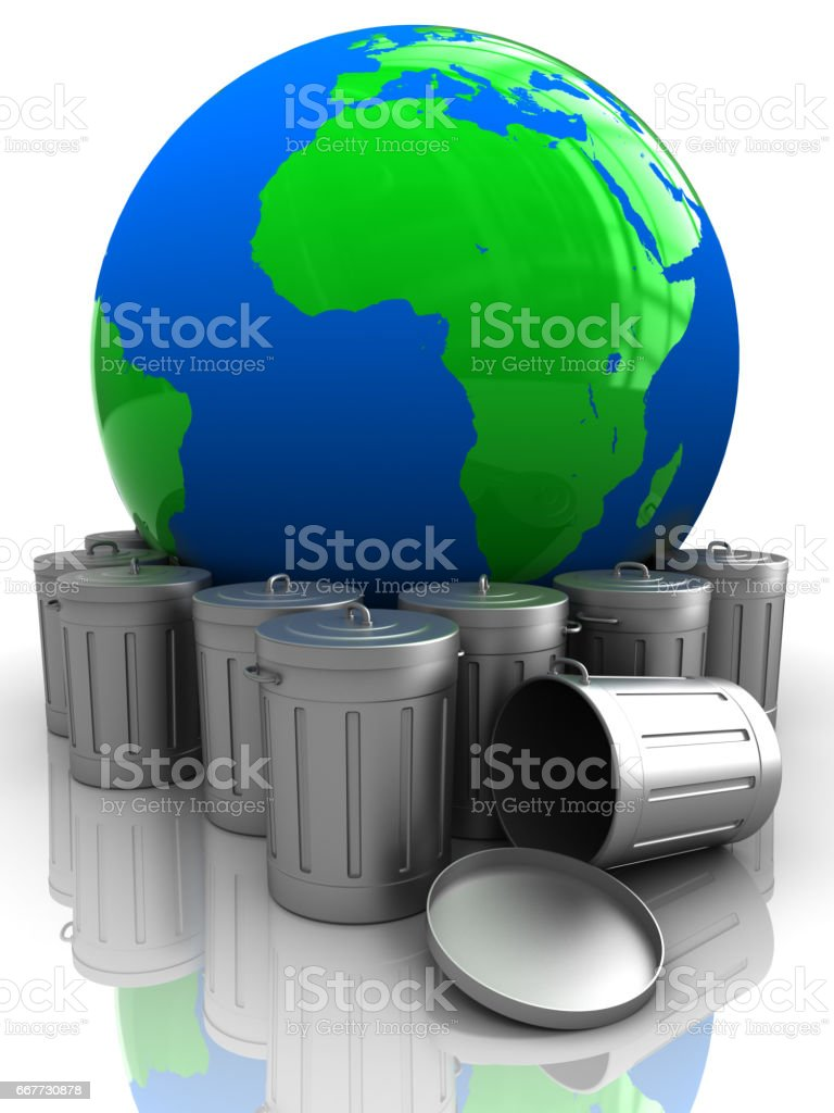 earth with garbage stock photo
