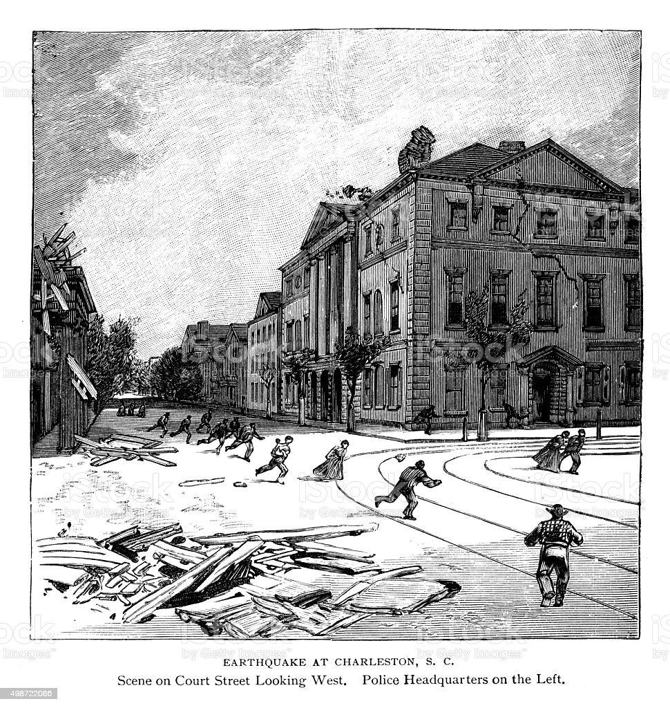 Earthquake at Charleston South Carolina vector art illustration