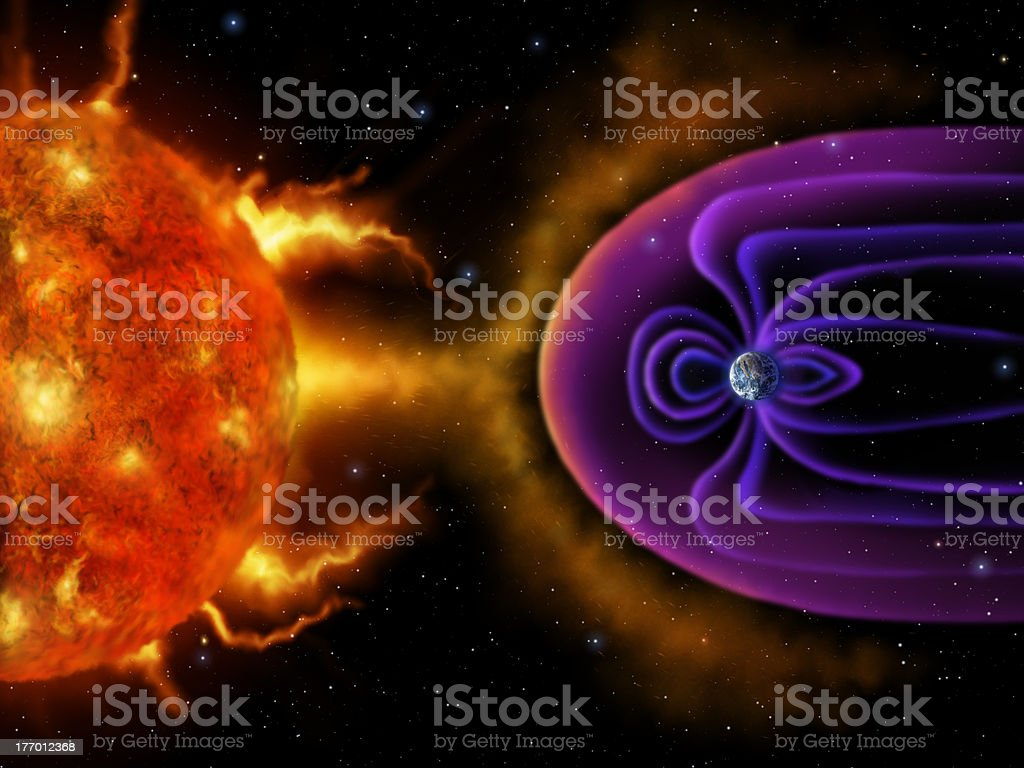 Earth's Magnetosphere - Digital Painting vector art illustration