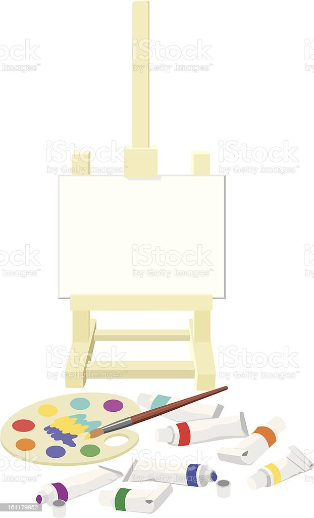 Easel, palette and paints royalty-free stock vector art