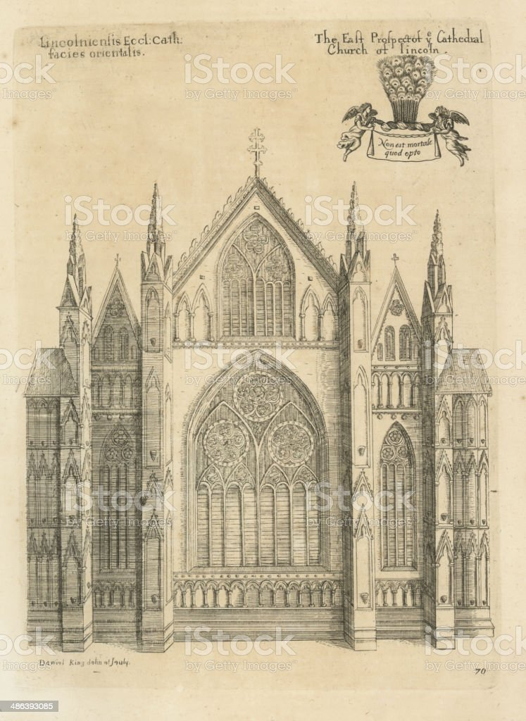 East Prospect of ye Cathedral Church of Lincoln 1660 vector art illustration