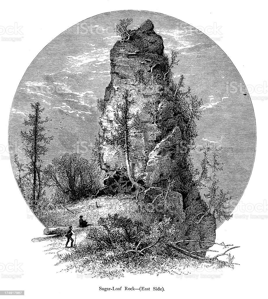 East side of Sugar Loaf Rock on Mackinac Island, Michigan vector art illustration