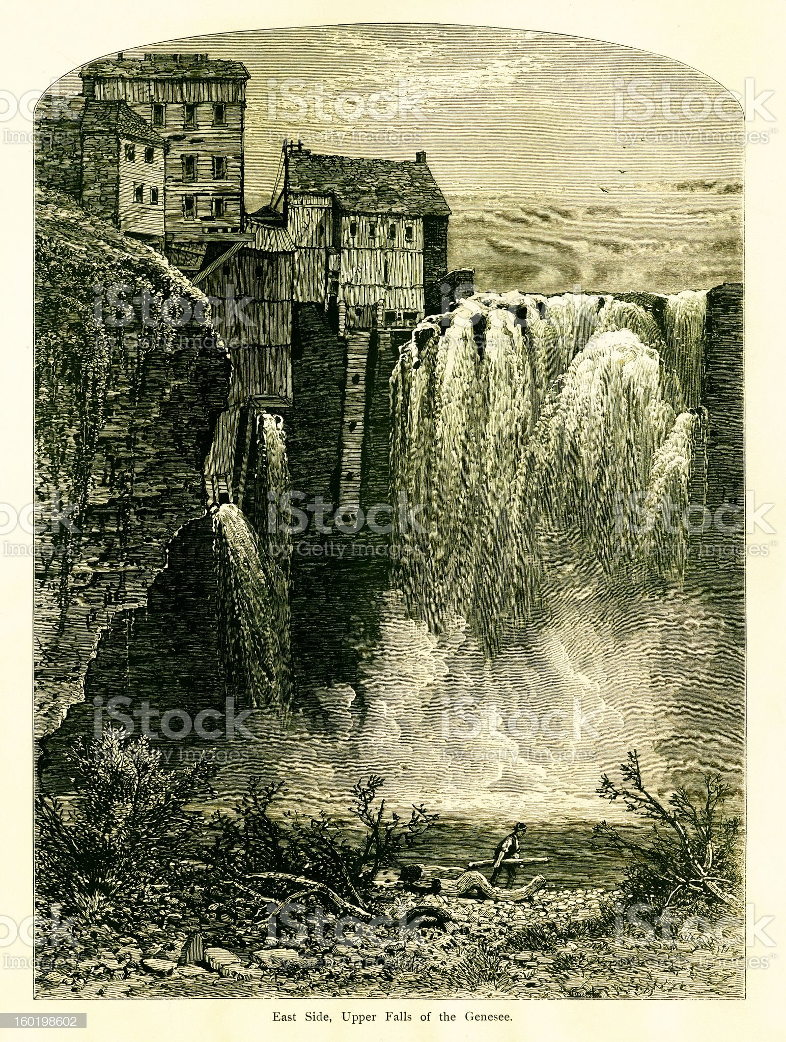 East side of Upper Falls, Portage Canyon, New York royalty-free stock vector art