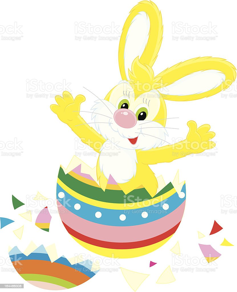 Easter Bunny and painted egg royalty-free stock vector art