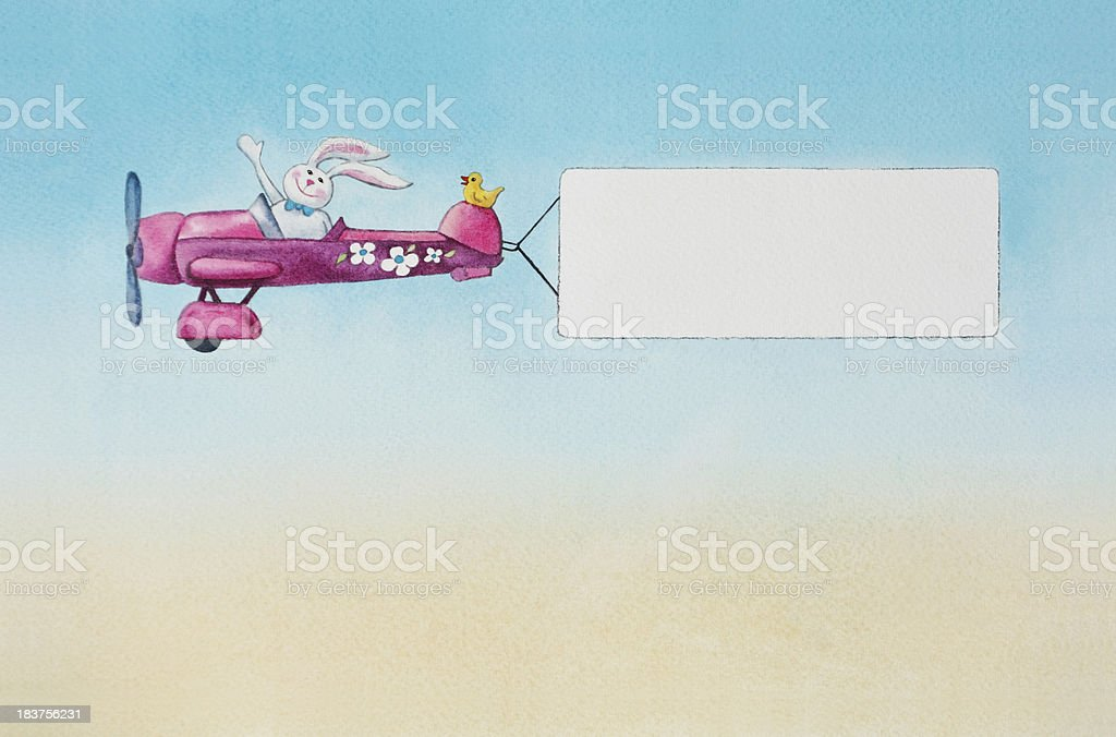Easter Bunny Flying An Airplane vector art illustration