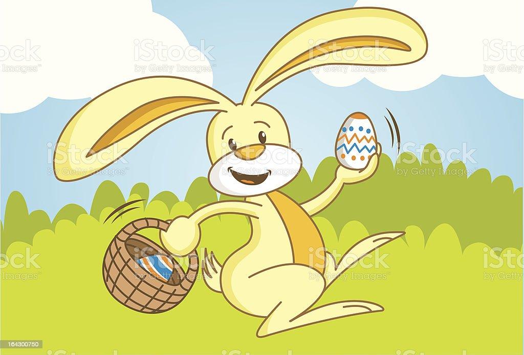 Easter Bunny Hiding Eggs royalty-free stock vector art