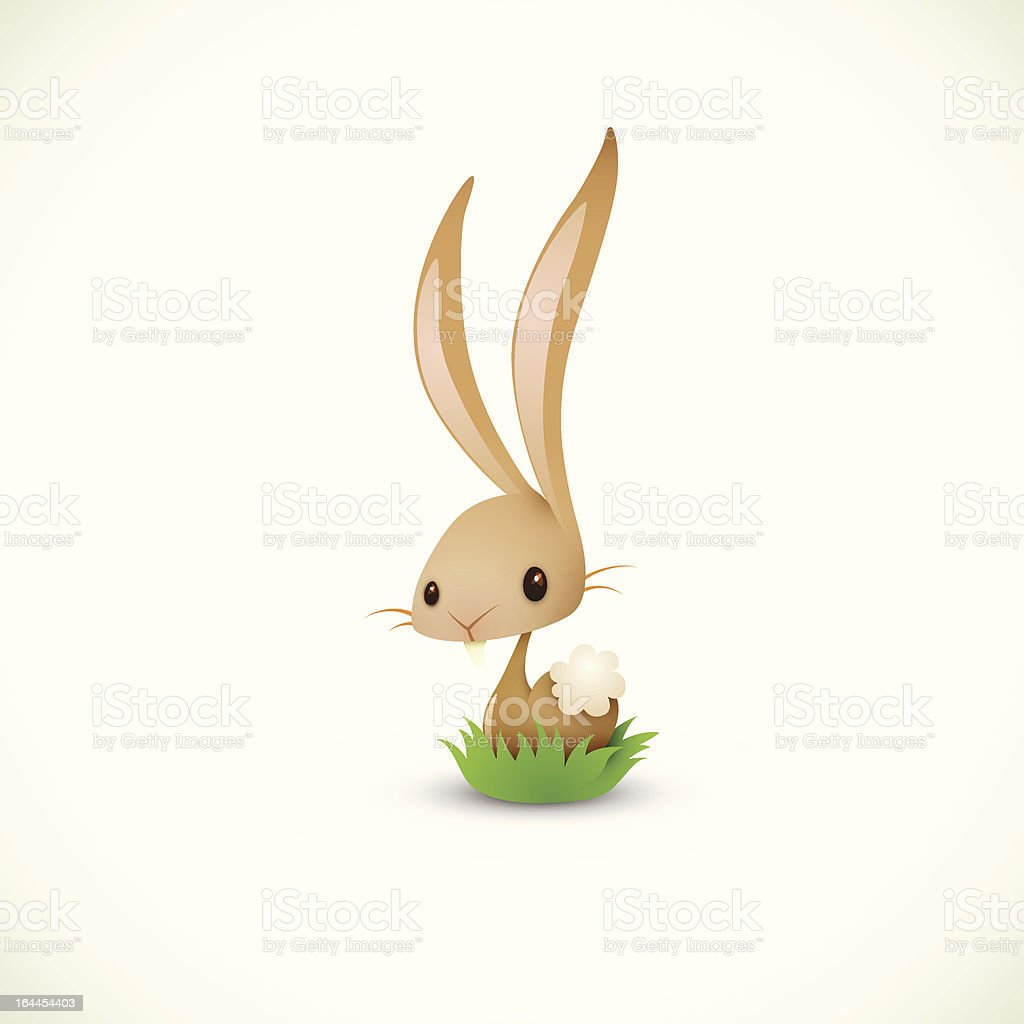 Easter Bunny Sitting In Grass royalty-free stock vector art