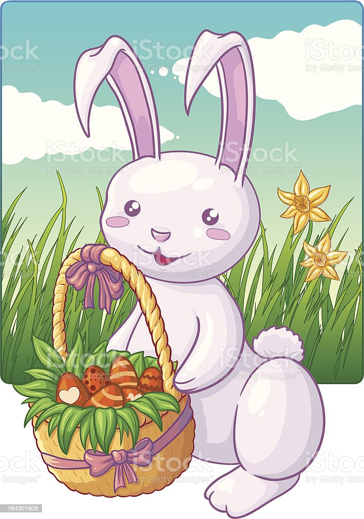 Easter bunny with basket royalty-free stock vector art