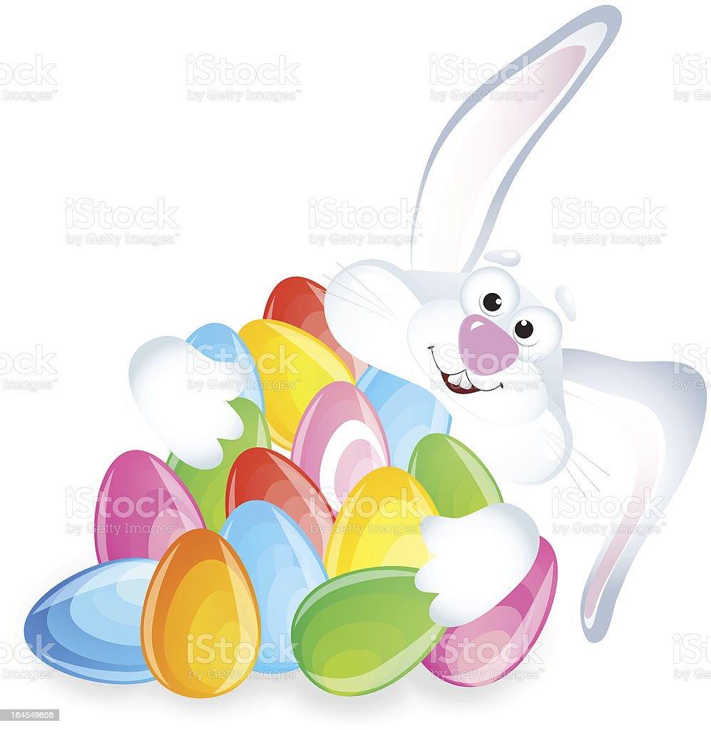 easter bunny with color eggs stock vector art 164549856 istock