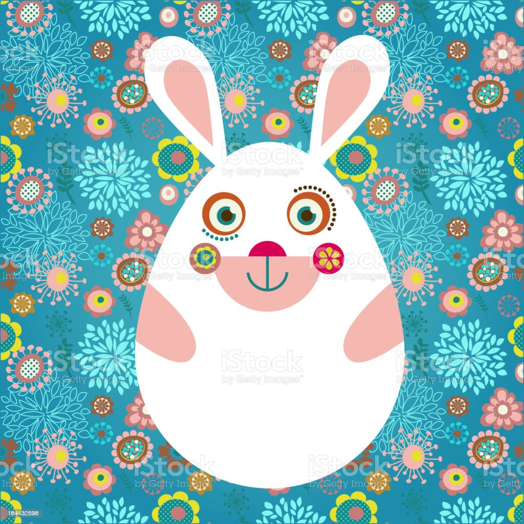 Easter card with bunny and egg royalty-free stock vector art