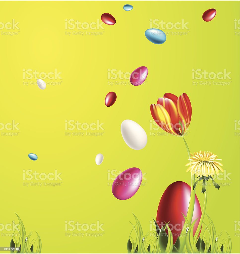 Easter card with tulipe royalty-free stock vector art