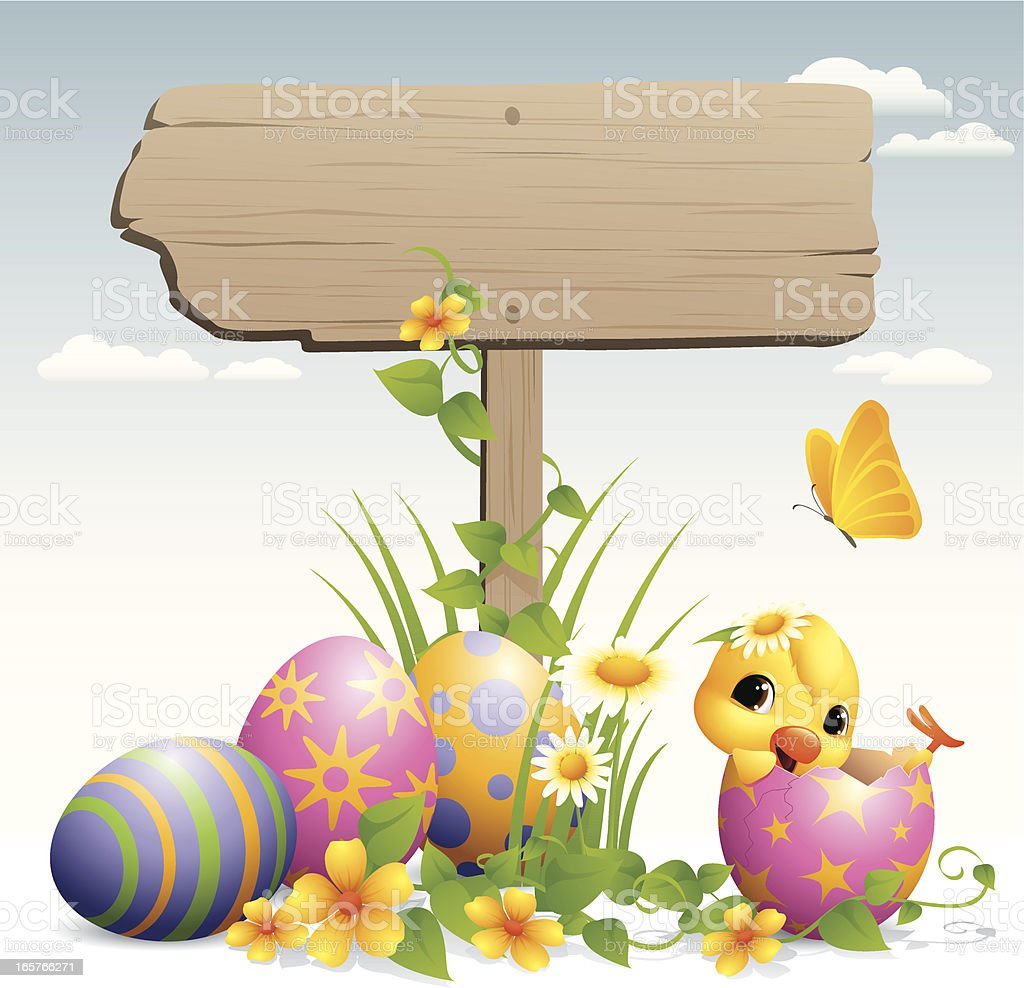 Easter Egg - road sign royalty-free stock vector art