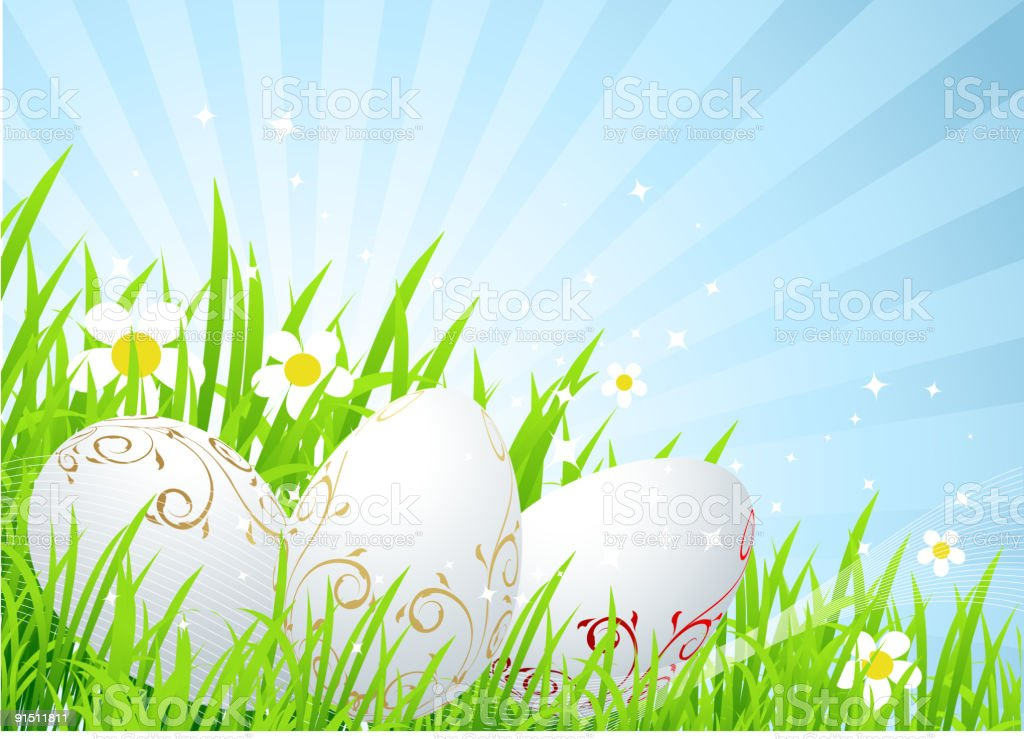 Easter eggs on the spring  meadow royalty-free stock vector art