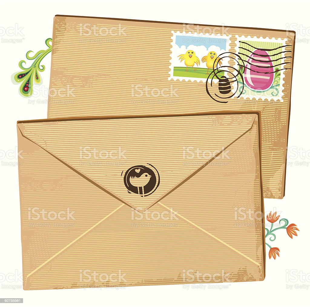 Easter envelope and stamps royalty-free stock vector art