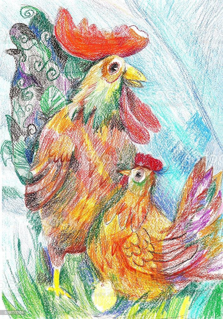 Illustrazione di Pasqua con un Gallo, pollo e uova. Disegno a pastello illustrazione royalty-free