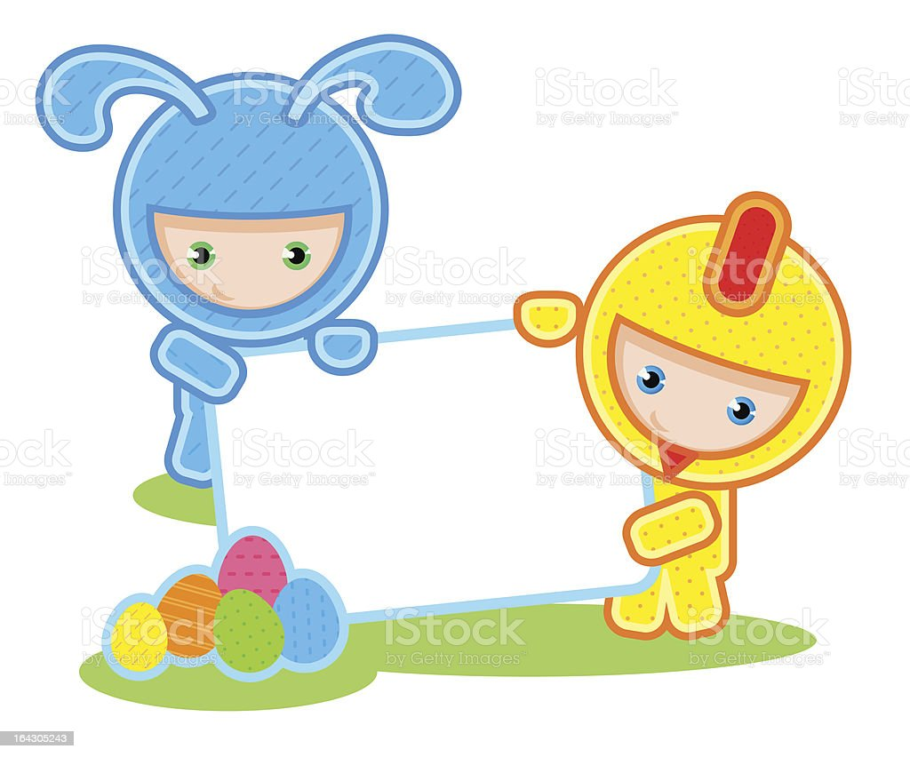 Easter. Kids and banner royalty-free stock vector art