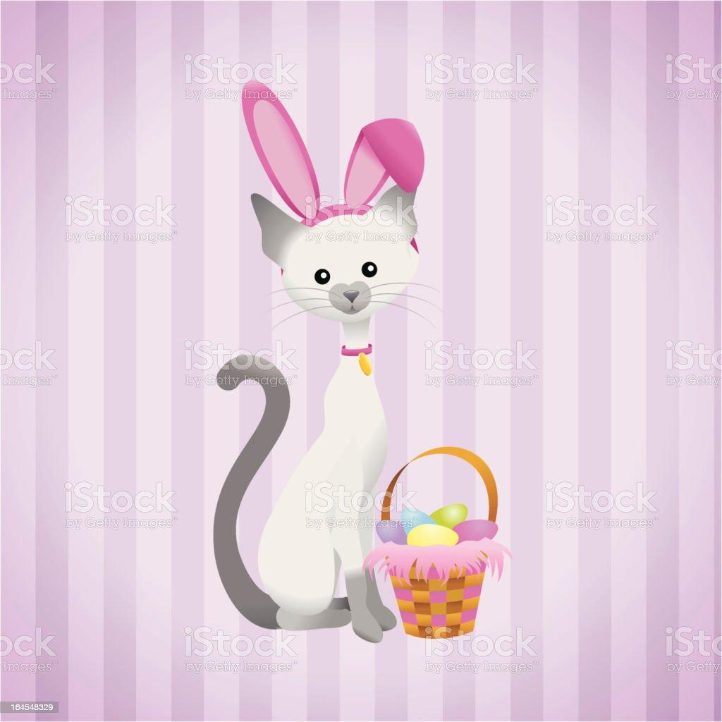 Easter Kitty vector art illustration