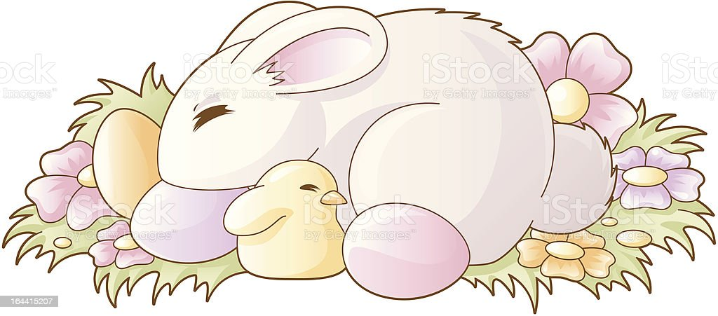 Easter sleeping bunny and chicken royalty-free stock vector art