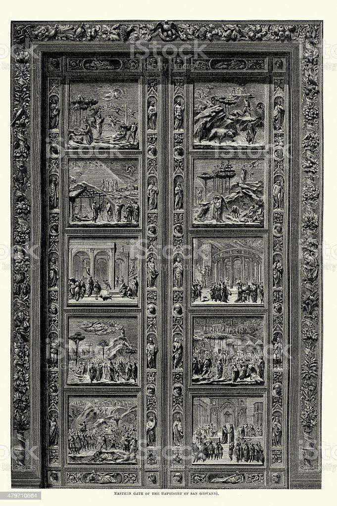 Eastern Gate of the Baptistry of San Giovanni vector art illustration