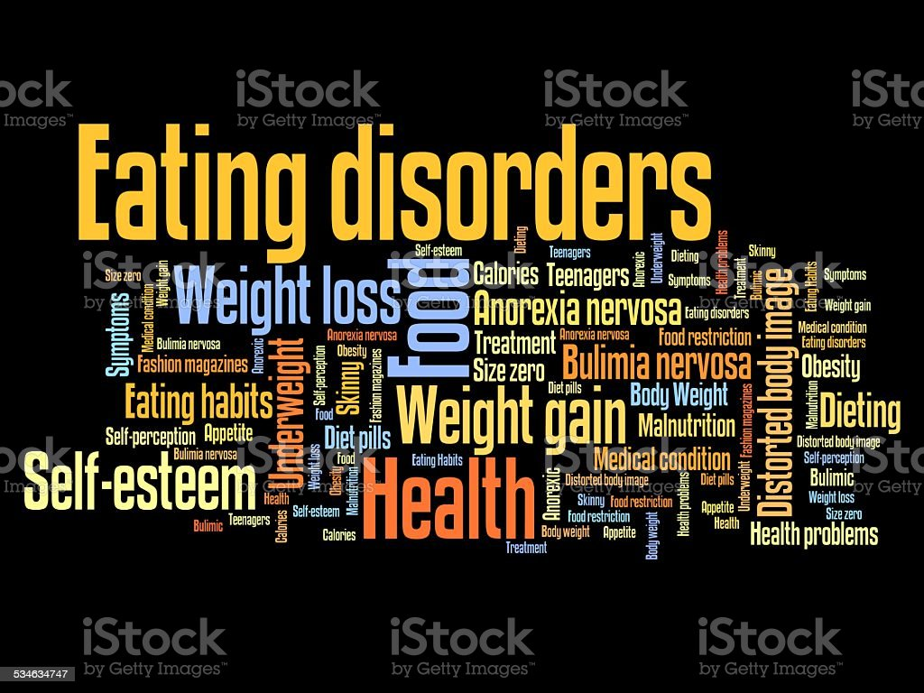 Eating disorders vector art illustration