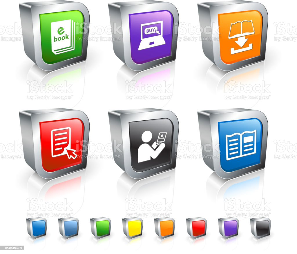 e-book 3D royalty free vector icon set with Metal Rim royalty-free stock vector art