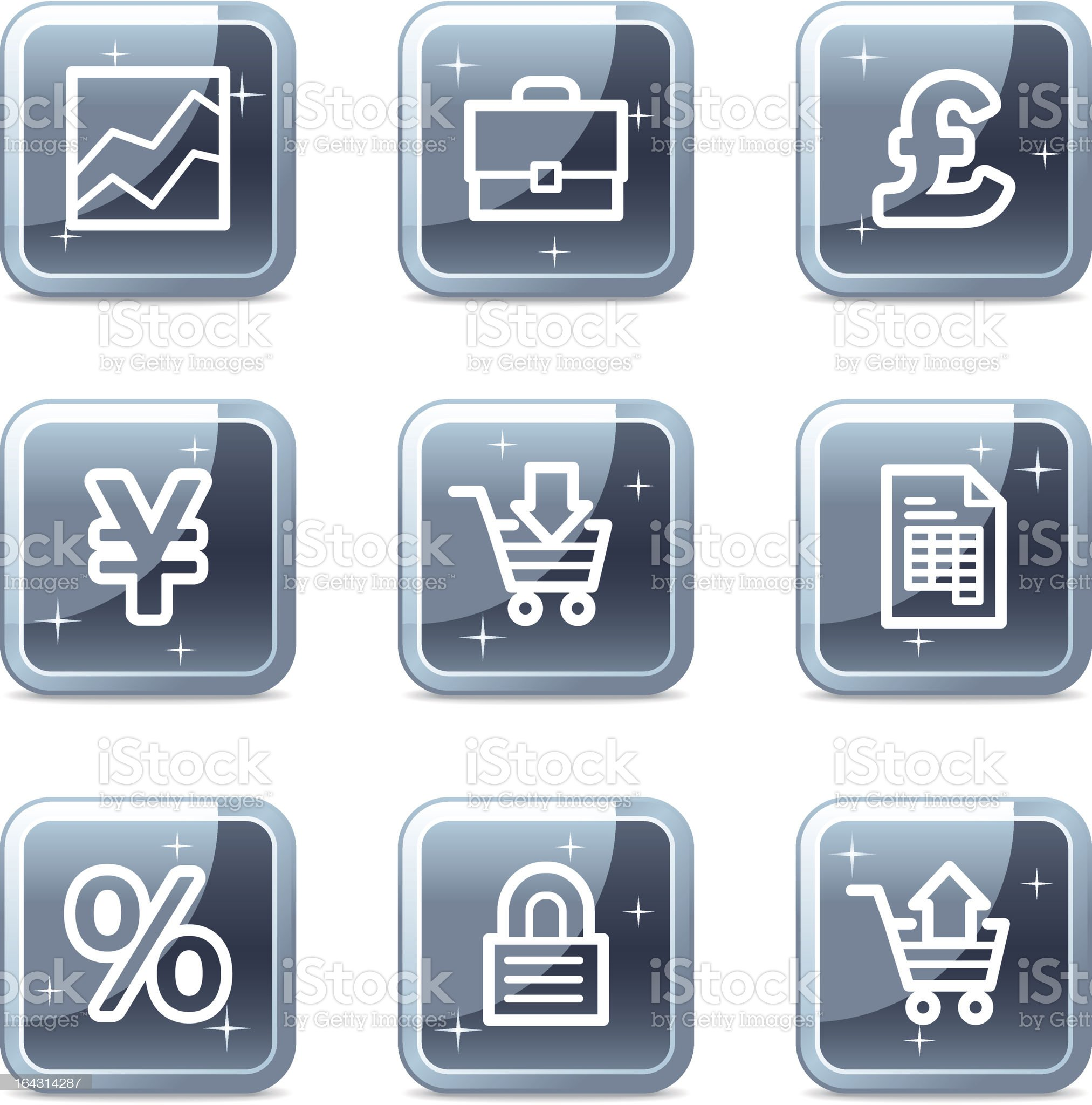 E-business web icons, square blue mineral buttons series royalty-free stock vector art