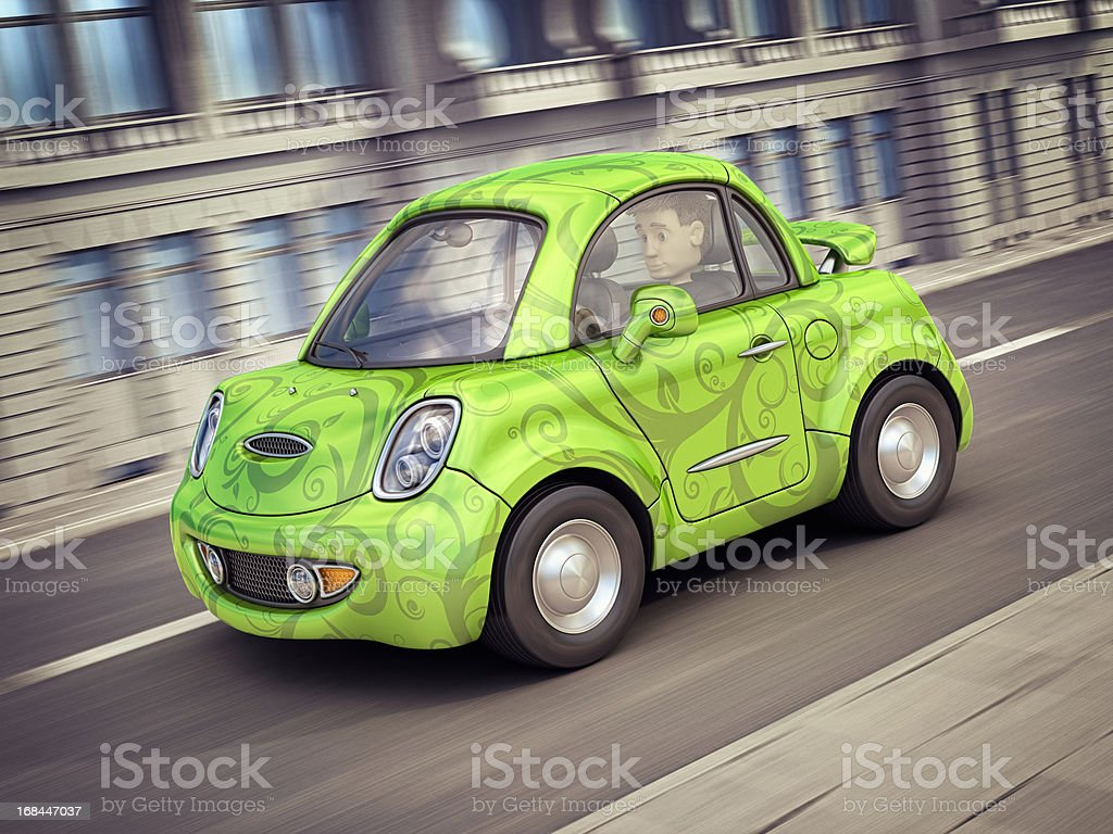 eco car in the city royalty-free stock vector art