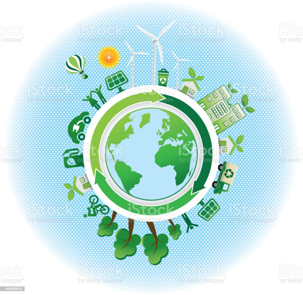 eco green icons with world map royalty-free stock vector art