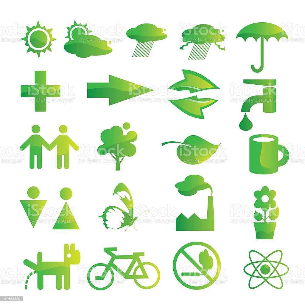 ecological and environmental protection icon set royalty-free stock vector art