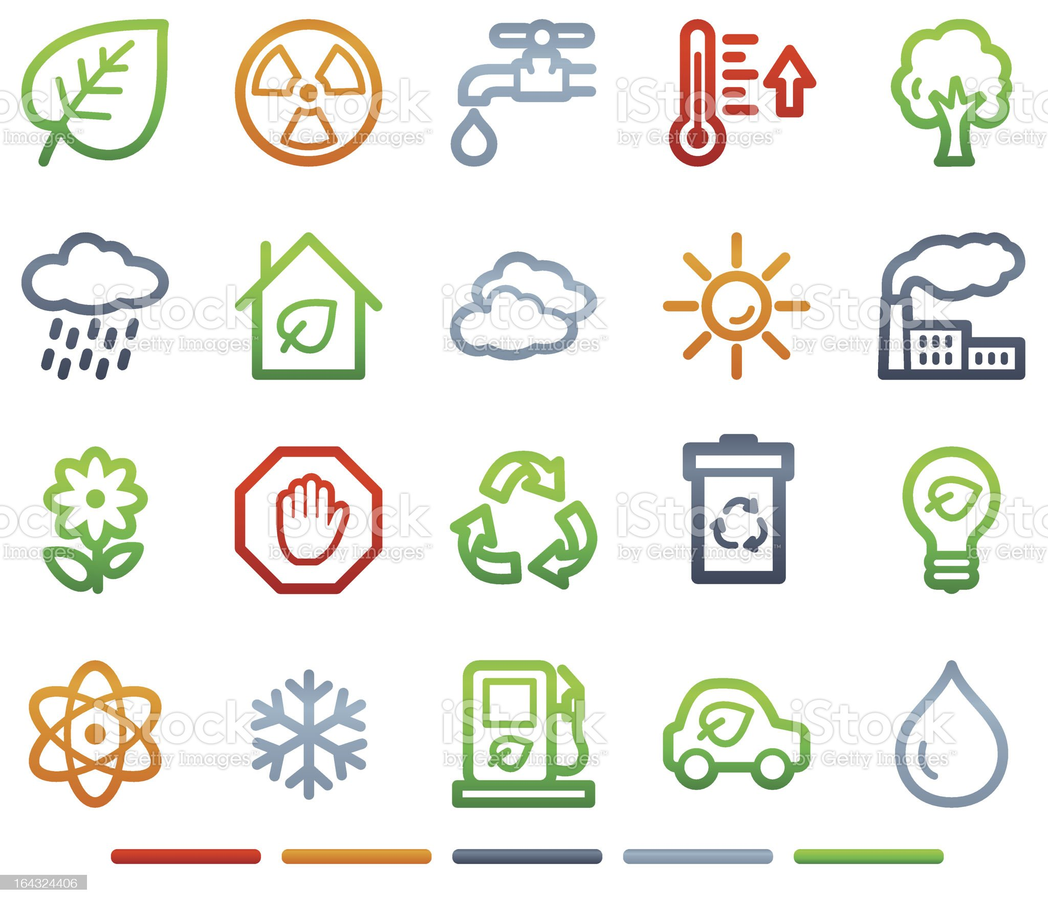 Ecology web icons, colour symbols series royalty-free stock vector art