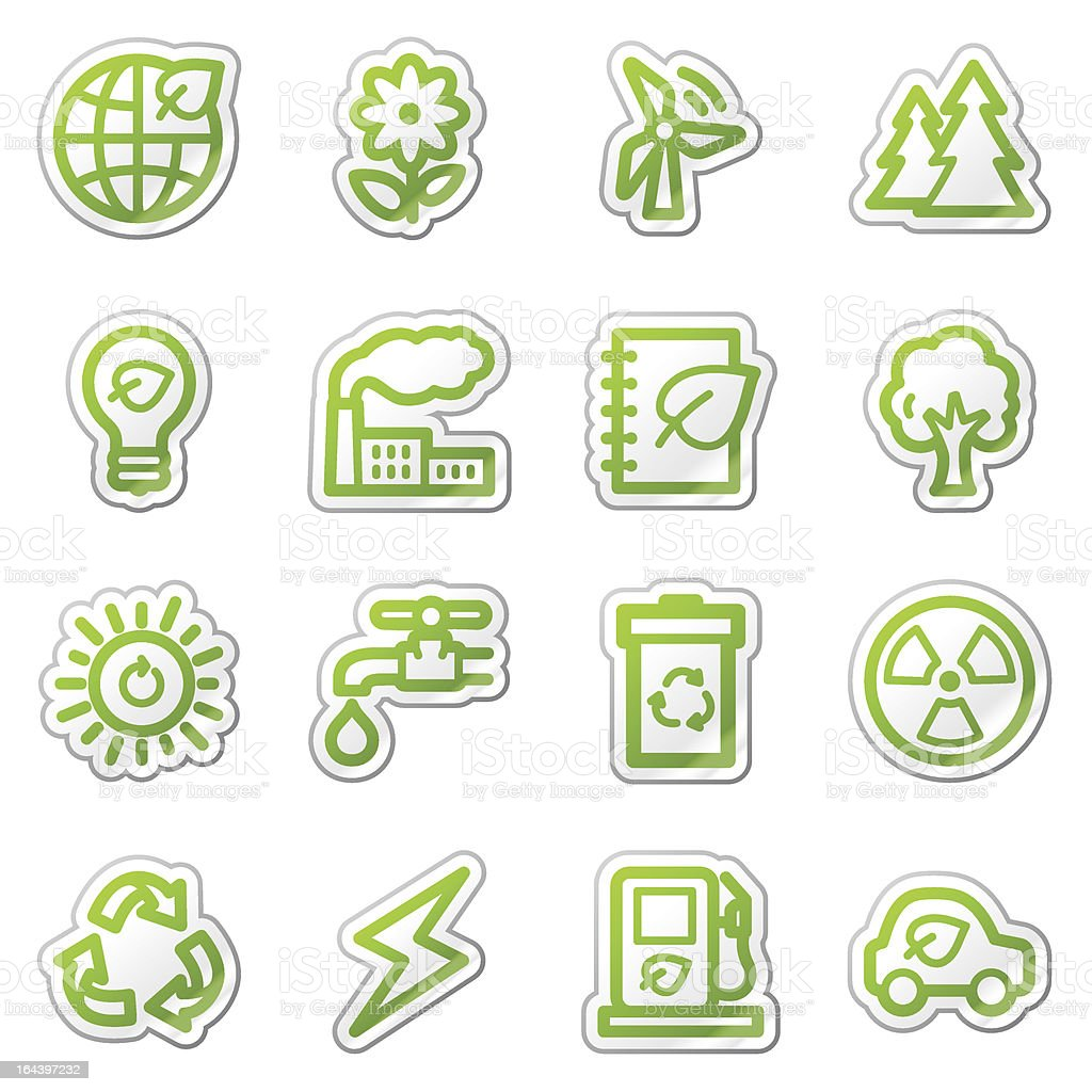 Ecology web icons set 1, green sticker series royalty-free stock vector art
