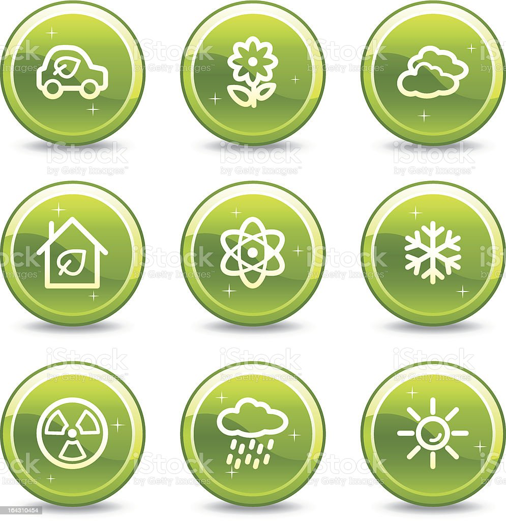 Ecology web icons set 2, green glossy circle buttons series royalty-free stock vector art