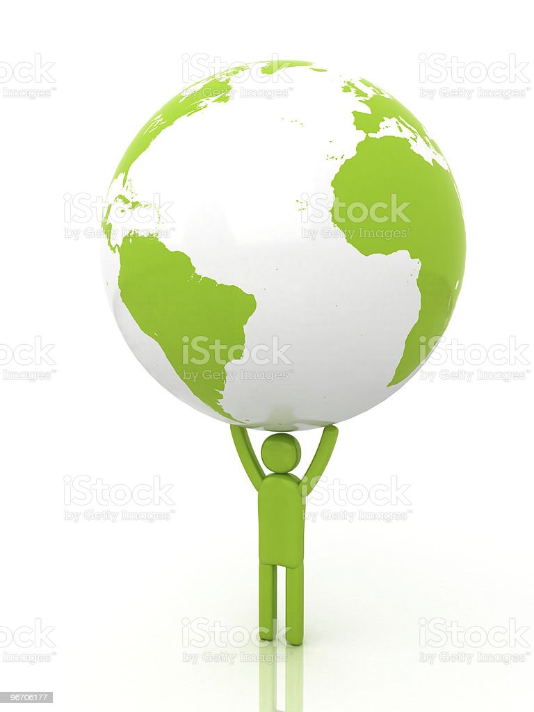 Ecoman holding Earth | Eco-man Series royalty-free stock vector art