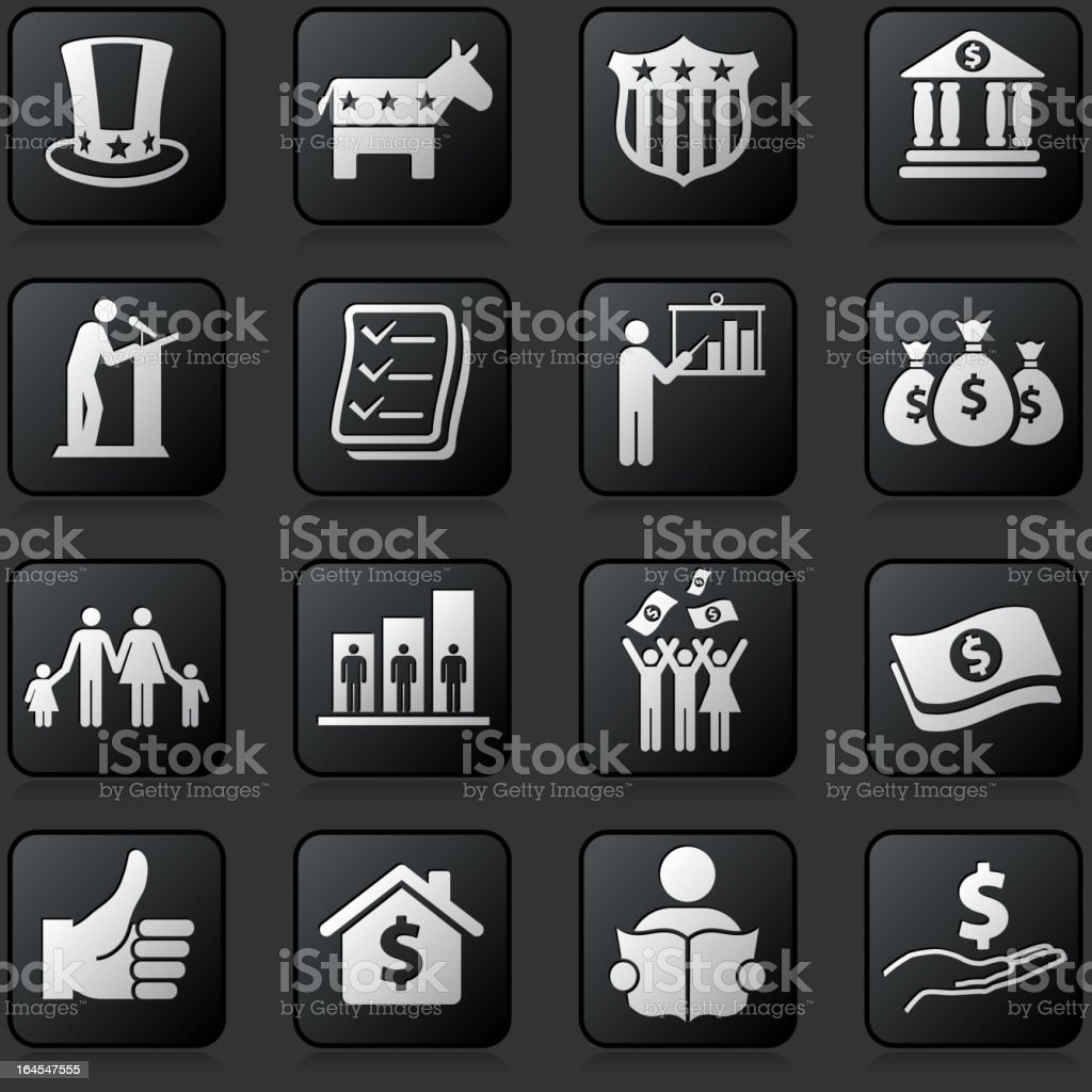 Economic stimulus bailout bill royalty free vector icon set vector art illustration