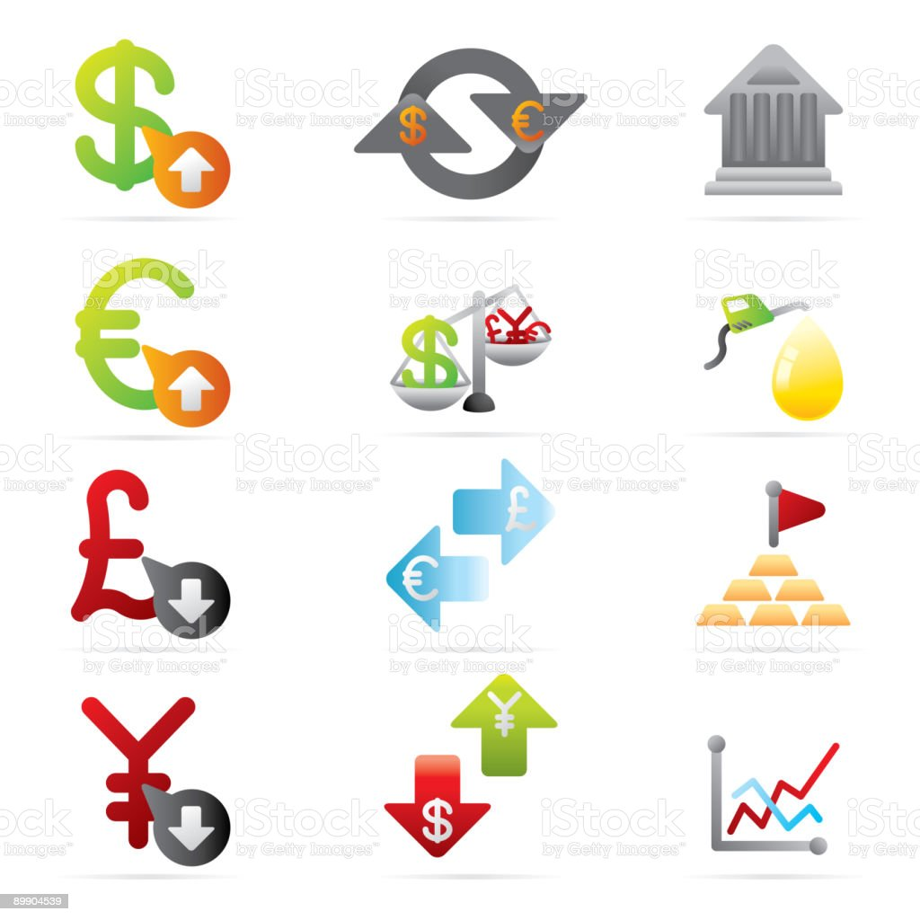Economy Icons royalty-free stock vector art
