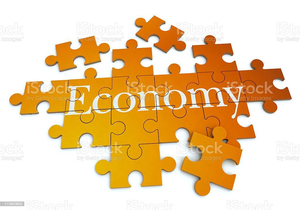 Economy puzzle vector art illustration