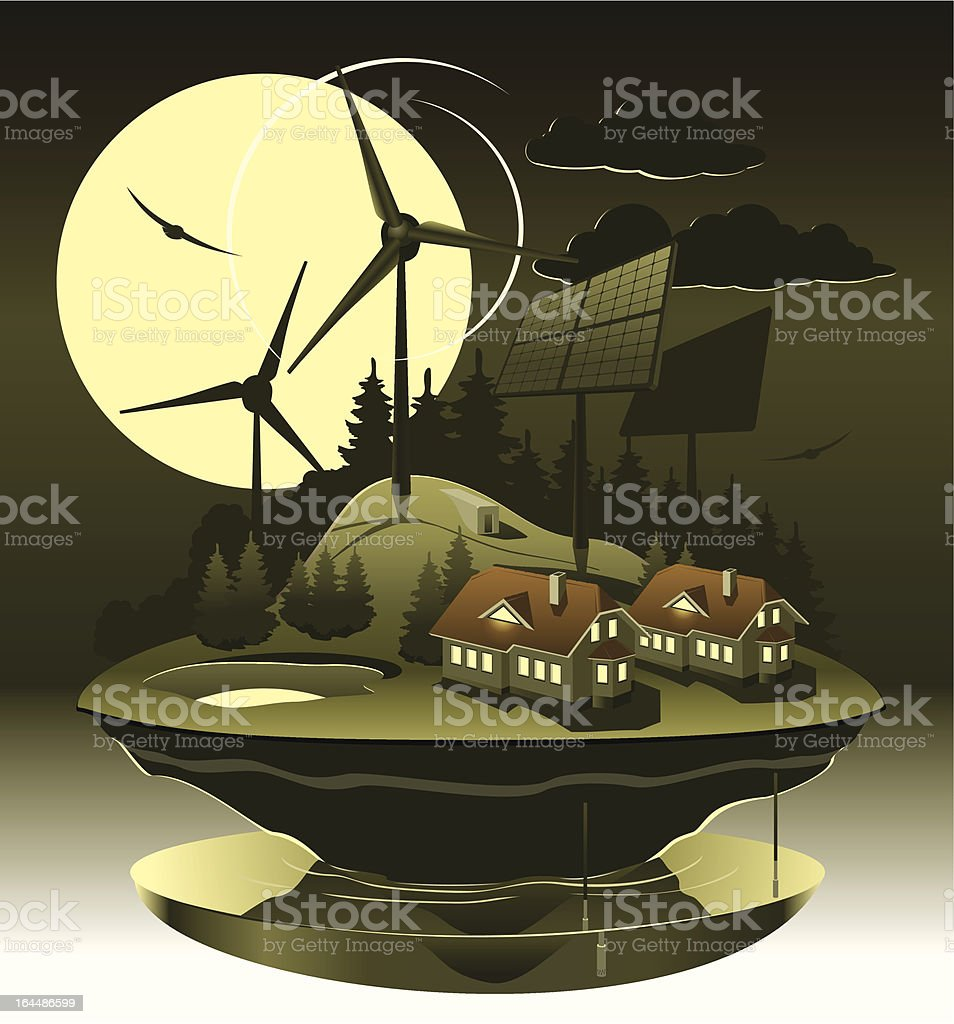 Ecovillage night vector art illustration