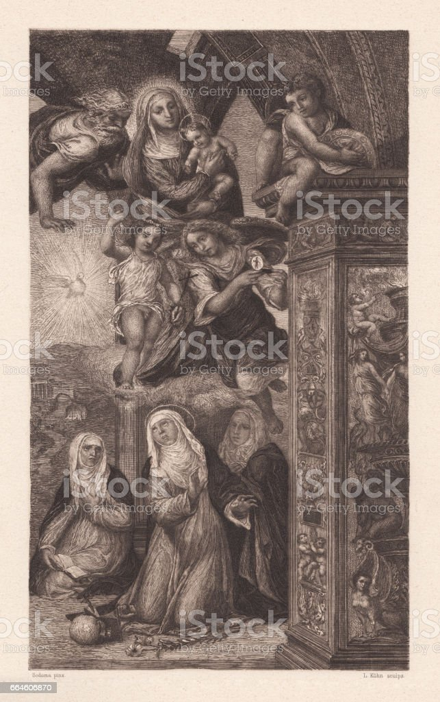 Ecstacy of Saint Catharine, painted (1526) by Sodoma, Siena, Italy vector art illustration