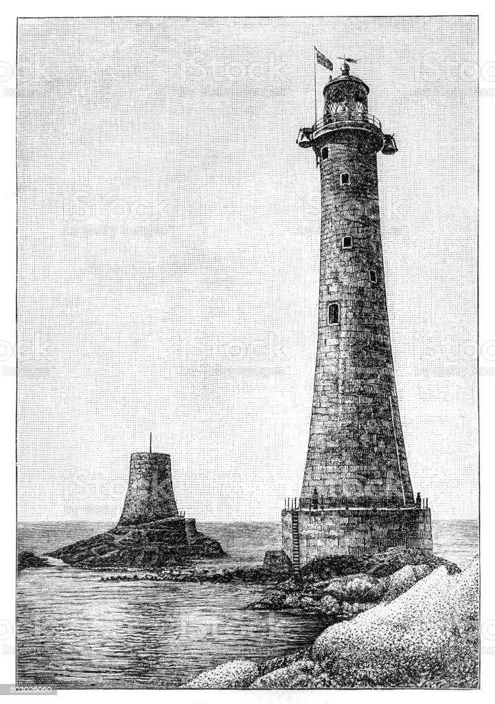 Eddystone Lighthouse vector art illustration