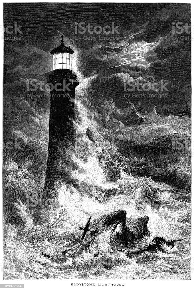 Eddystone Lighthouse with shipwreck in a storm (19th century engraving) vector art illustration